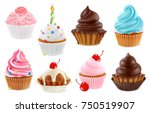 Stock vector cupcake fairy cake d realistic vector icon set 750519907