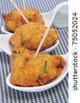 some spanish cod fritters tapas ready to serve - stock photo