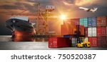 truck transport container on... | Shutterstock . vector #750520387