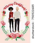married couple casual christmas ...   Shutterstock .eps vector #750522685