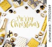 merry  christmas card. flat lay ... | Shutterstock . vector #750523369