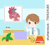 cute cartoon doctor with hert... | Shutterstock .eps vector #750524185