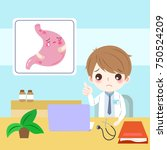doctor with stomach health... | Shutterstock .eps vector #750524209