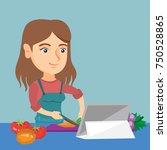 young caucasian woman cutting... | Shutterstock .eps vector #750528865