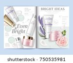 cosmetic magazine template ... | Shutterstock .eps vector #750535981