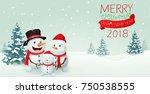 christmas snowman family banner ...   Shutterstock . vector #750538555