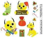 christmas dogs faces collection.... | Shutterstock .eps vector #750550711