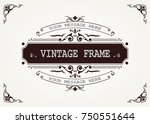 vintage frame with beautiful... | Shutterstock .eps vector #750551644