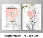 Cosmetic magazine template, top view of container and cream texture isolated on marble and geometric background, products listed on the right side, 3d illustration | Shutterstock vector #750555205