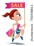 sports girl running with a...   Shutterstock .eps vector #750558811