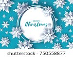 origami snowfall. merry... | Shutterstock .eps vector #750558877