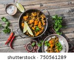 pumpkin lentil curry and rice... | Shutterstock . vector #750561289