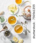 green tea with lemon  ginger ... | Shutterstock . vector #750561355