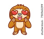 cute sloth character in love ... | Shutterstock .eps vector #750563299