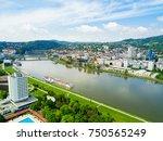 linz city centre and danube...   Shutterstock . vector #750565249