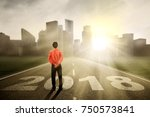 back view of young businessman... | Shutterstock . vector #750573841