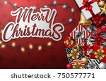 merry christmas typographical... | Shutterstock . vector #750577771