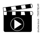 clapperboard with play button | Shutterstock .eps vector #750578149