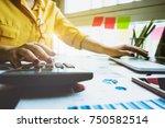 close up business man using... | Shutterstock . vector #750582514