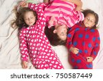 sisters or friends in pajamas...   Shutterstock . vector #750587449