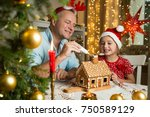 father and adorable daughter in ... | Shutterstock . vector #750589129