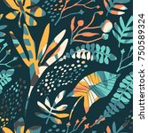 abstract floral seamless... | Shutterstock .eps vector #750589324