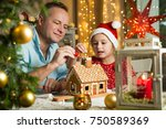 father and adorable daughter in ... | Shutterstock . vector #750589369
