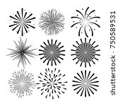 sunburst decorative set icons | Shutterstock .eps vector #750589531