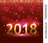 happy new year 2018 postcard | Shutterstock .eps vector #750590455