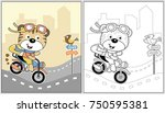 biker cartoon vector  coloring... | Shutterstock .eps vector #750595381