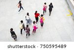 top view aerial of people walk... | Shutterstock . vector #750595489