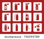 fire extinguisher vector icons... | Shutterstock .eps vector #750595789