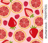 grapefruit  strawberry and... | Shutterstock .eps vector #750597031
