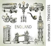 hand drawn sketch england set.... | Shutterstock .eps vector #750610231