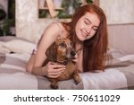 beautiful  young woman with... | Shutterstock . vector #750611029