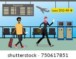 cartoon people with suitcases... | Shutterstock .eps vector #750617851