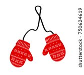 pair red of knitted christmas... | Shutterstock .eps vector #750624619