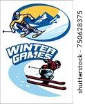 set of skiing sport badge | Shutterstock .eps vector #750628375