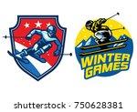 set of skiing badge | Shutterstock .eps vector #750628381