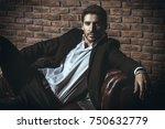 portrait of a sexy handsome man ... | Shutterstock . vector #750632779