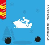 snowmobile simple flat icon.