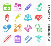 color medical icons on white... | Shutterstock .eps vector #750639115