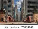 la salle street  chicago ... | Shutterstock . vector #75063949
