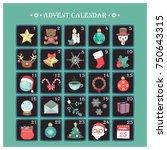 advent calendar with various... | Shutterstock .eps vector #750643315