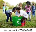 group of kids school volunteer... | Shutterstock . vector #750643687