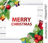 merry christmas on wood... | Shutterstock .eps vector #750644707