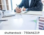 businessman working at business ... | Shutterstock . vector #750646219