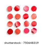 pieces of sliced lipstick in... | Shutterstock . vector #750648319