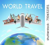 airplane with world travel... | Shutterstock .eps vector #750652351