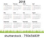 vector circle calendar 2018.... | Shutterstock .eps vector #750656839